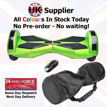 Xboard Self Balancing Scooter (Hoverboard) 8 inch wheels + Carry Case + Remote - Green with Black Pads