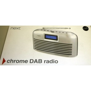Portable DAB FM Radio in Chrome by Next - Box Damage Only - Pristine