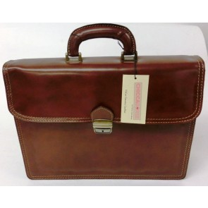 Genuine Leather Document Case Man Bag by CTM - Made in Italy - Brown