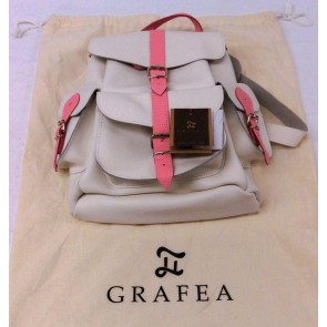 Grafea Rose White & Pink Leather Rucksack - New with tags