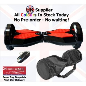 Xboard Self Balancing Scooter (Hoverboard) 8 inch wheels + Carry Case + Remote - Black with Red Pads